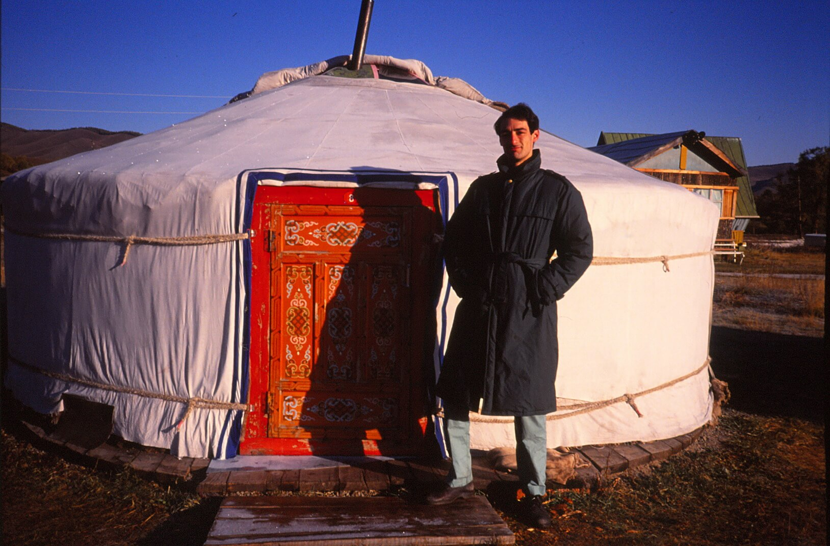 Me outside my yurt, September 1991.