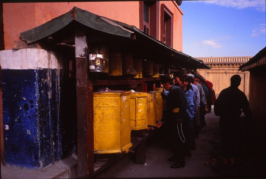 Mongolian prayer wheels, September 1991.