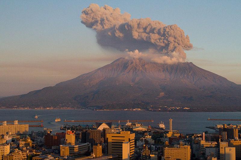 Sakurajima at sunset, December 2011.