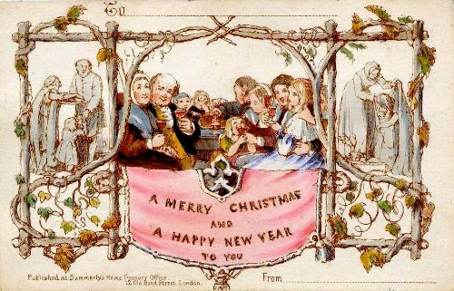 The First Christmas Card (source: https://en.wikipedia.org/wiki/Christmas_card#/media/File:Firstchristmascard.jpg